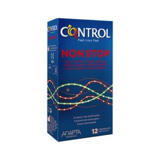 Control Non Stop 12 Preservativos Stop é um preservativo concebido para quem quer algo mais numa relação. Tem pontos e estrias no lado externo para oferecer sensações mais intensas e é lubrificado internamente com benzocaína para favorecer relações mais prolongadas.