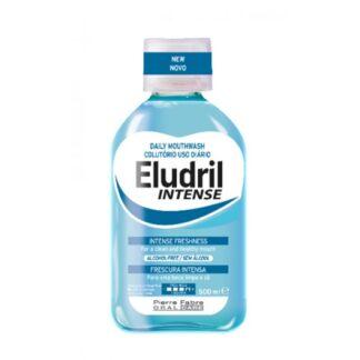 Eludril Intense Colutório 500ml colutório indicado para combater os agentes responsáveis pela formação da placa bacteriana, tártaro e mau hálito.