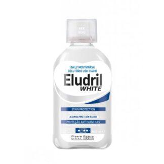 Eludril White Colutório 500ml colutório indicado para combater os agentes responsáveis pela formação da placa bacteriana, favorecendo a descoloração dos dentes.