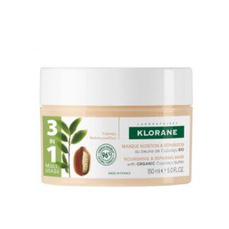 Klorane Máscara Manteiga Cupuaçu Bio 150ml máscara multiusos indicada para cabelos secos e danificados.