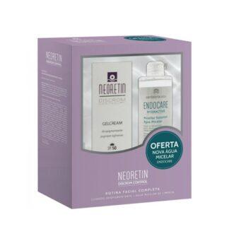 Neoretin Gelcreme SPF50 40ml+Endocare Hydractive 100ml o pack e composto por emulsão para o cuidado integral da pele envelhecida e com tendência ao aparecimento de manchas e uma água micelar desmaquilhante antipoluição hidratante.