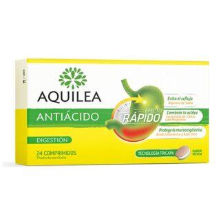 Aquilea Antiácido Menta 24 Comprimidos, antiácido para o tratamento sintomático de refluxo gastroesofágico e hiperacidez, reduzindo os sintomas relacionados, como ardor, regurgitação ácida e dor de estômago.