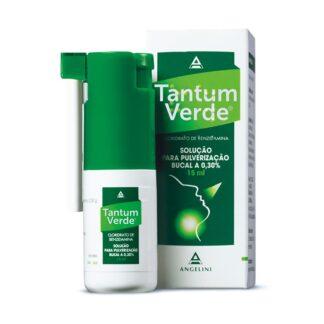 Tantum Verde Solução Bucal 3mg/ml 15ml, medicamento indicado no tratamento de inflamações da orofaringe.