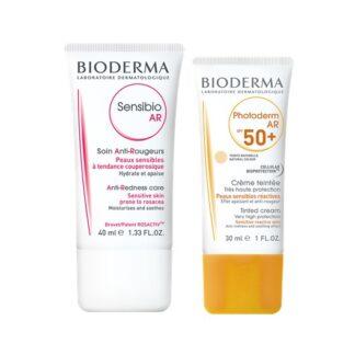 Bioderma Sensibio Ar Tubo 40ml + Photoderm Ar SPF50+ 30ml, pack que contém um cuidado de rosto, ideal para a pele com vermelhidão e um creme de rosto com proteção solar muito elevada (SPF 50+), indicado para a pele sujeita a vermelhidões (rosácea ou couperose).