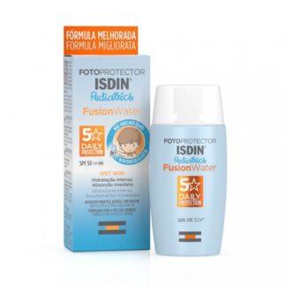 Isdin Fotoprotetor Pediatrics Fusion Water FPS50 50 ml, fotoproteção ultra ligeira, diária, para crianças, que não arde nos olhos Fotoprotetor facial de fase aquosa que proporciona uma hidratação intensa