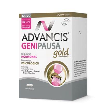 Advancis Genipausa Gold 30 Cápsulas é um suplemento alimentar especialmente formulado para ajudar no equilíbrio hormonal e bem-estar psicológico da mulher, contribuindo para o alívio dos sintomas da menopausa, sem isoflavonas de soja