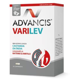 Advancis Varilev 60 Comprimidos é um suplemento alimentar, em comprimidos, cuja fórmula especializada contém várias plantas de uso tradicional, conhecidas pelos seus benefícios, tais como a Castanha da Índia, a Hamamélia, a Ratânia e o Mirtilo.