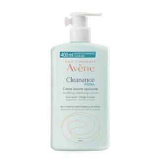 Avene Cleanance Hydra Creme Lavante Suavizante 400ml, limpa e protege a pele sensível e desidratada por um tratamento medicamentoso anti-acneico.