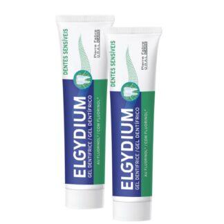 Elgydium Gel Dentes Sensíveis 2x75ml, dentífrico pouco abrasivo utilizado na escovarem diária dos dentes, fornecendo flúor ao dente 1250ppm de flúor, e preservando a superfície particularmente frágil dos dentes sensíveis.