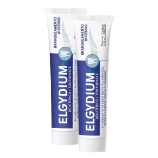 Elgydium Pasta Branqueador Cool Lemon 2x75ml, pasta dentífrica com sabor a limão fresco, com bicarbonato de sódio micro-pulverizado, indicada para uns dentes mais brancos e saudáveis.