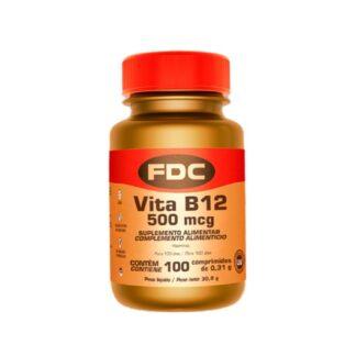 FDC Vitamina B12 500mcg 100 Comprimidos, vitamina B12 é um micronutriente essencial para a saúde e está presente em alimentos de origem animal. Esta desempenha um papel importante na saúde do sistema nervoso, na formação adequada dos glóbulos vermelhos e no normal funcionamento do sistema imunitário.
