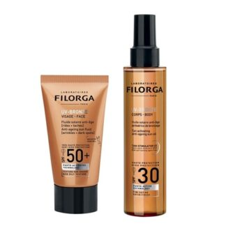 Filorga UV-Bronze Face FPS50+ 40ml + UV-Bronze Corpo SPF30 150ml, fluido Solar Antienvelhecimento [Rugas + Manchas] + Óleo Solar Antienvelhecimento Ativador do Bronzeado