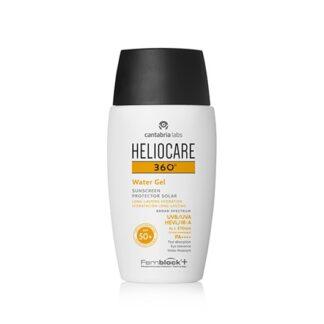 Heliocare 360º Water Gel SPF 50+ 50ml gel fotoprotetor aquoso com textura ultraligeira e hidratante de rápida absorção. Aporta uma fotoimunoproteção 360º com cobertura muito ampla contra UVB, UVA, Visível e IV-A. Enriquecido com Fernblock®+ e outros ativos para uma intensa ação antioxidante e reparadora