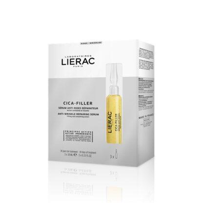Lierac Cica-Filler Sérum Anti Rugas Ampolas 3x10ml, concebido com a finalidade de atuar em todos os tipos de rugas. Além disso, as suas ampolas flexíveis permitem uma utilização precisa, prática e higiénica.