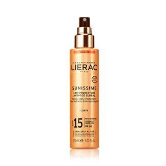 Lierac Sunissime Leite Protetor Global FPS15 150ml, a 1ª gama de cuidados solares antienvelhecimento* que protege do espetro global energizando a pele.