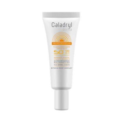 Caladryl Derma Sun Fluído Matificante SPF50+ 40ml, fluído com fator de proteção solar muito elevado (SPF 50+), indicado para proteger a pele do rosto da radiação solar UVA/UVB.