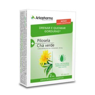 Arkocápsulas Complex Drenar e Queimar Gorduras é um suplemento alimentar à base de pilosela e Chá verde.