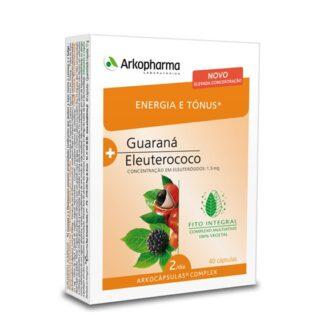 Arkocápsulas Complex Energia e Tónus é um suplemento alimentar à base de Guaraná e Eleuterococo.