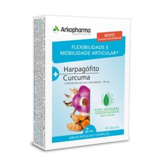Arkocápsulas Complex Flexibilidade e Mobilidade Articular é um suplemento alimentar à base de Harpagófito e Curcuma.