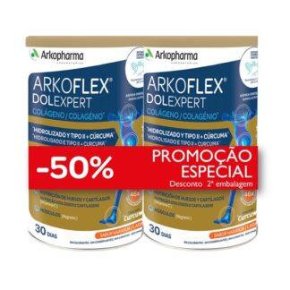 Arkoflex Colagénio Expert 2x390gr, pó à base de Colagénio hidrolisado e nativo tipo II, Ácido hialurónico, Magnésio, Manganês, Curcuma e Vitamina C, B1, B2, B6, B12 e D. Contém edulcorantes.