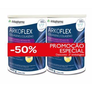 Arkoflex Colagénio é um suplemento alimentar em pó à base de Colagénio, Ácido hialurónico, Magnésio, e Vitamina C.