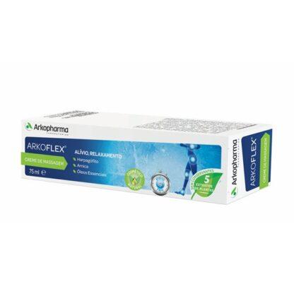 Arkoflex Creme de Massagem 75ml, melhora os efeitos relaxantes da massagem, aumenta os benefícios de uma massagem e assim aliviar áreas de tensão articular e muscular.