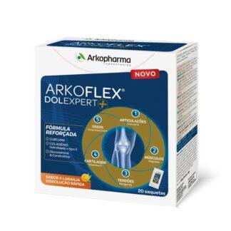 Arkoflex Dolexpert+ é um suplemento alimentar com edulcorante, à base de Curcuma, Colagénio, Glucosamina, Ácido hialurónico, Vitaminas e Minerais.