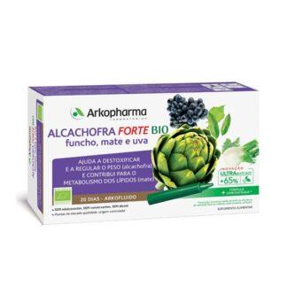 Arkofluido Alcachofra Forte 20 Ampolas, Ajuda a desintoxicar, a perder peso (Alcachofra) e no metabolismo dos lípidos (Mate). A alcachofra contribui para a perda de peso, para o normal funcionamento do fígado e para a eliminação de toxinas