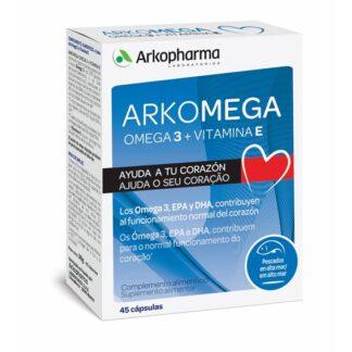 Arkomega Ómega 3 + Vitamina E é um suplemento à base de Ómega 3 e Vitamina E. O Arkomega® Ómega 3 + Vitamina E aporta ao organismo ácidos gordos Ómega 3: EPA (ácido eicosapentaenóico) e o DHA (ácido docosahexaenóico), os quais contribuem para o funcionamento normal do coração*.