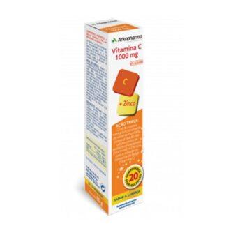 Arkopharma Vitamina C 1000mg + Zinco é um suplemento alimentar à base de Vitamina C e Zinco, sem açúcares.