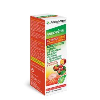 Arkovital Acerola 1000 15 Comprimidos, ajuda a reduzir o cansaço e da fadiga e contribui para o normal funcionamento do sistema imunitário. Recomenda-se em caso de esgotamento ou de fadiga passageira.