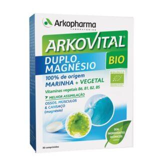 Arkovital Duplo Magnésio é um suplemento alimentar à base de alface do mar e de um concentrado de extratos vegetais. Apresenta uma associação exclusiva de Magnésio de origem marinha e vegetal, proveniente da alface do mar.