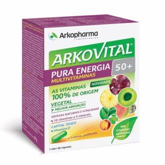 Arkovital Pura Energia 50+ 60 Cápsulas, melhor absorção por parte do organismo, ajuda a manter a forma e a vitalidade ao ajudar a diminuir o cansaço e a fadiga, contribui para a manutenção normal dos ossos.