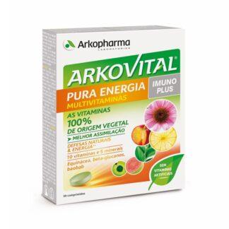 Arkovital Pura Energia 30 Comprimidos, para que o organismo os possa absorver melhor, proporcionando uma nova sensação de vitalidade.