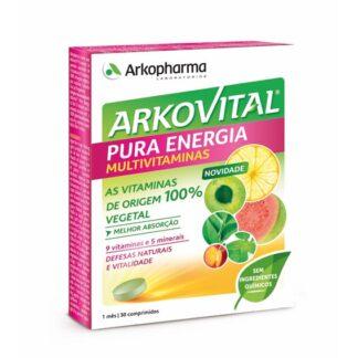 Arkovital Pura Energia Multivitivitamínico Imunoplus é um suplemento alimentar à base de Acerola e de um concentrado de extratos de vegetais Equinácea, Embondeiro, Beta-Glucanos e Vitamina D.