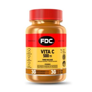 FDC Vita C 500mg 30 Comprimidos, a vitamina C é uma vitamina hidrossolúvel importante para a formação de colagénio, para a firmeza e elasticidade dos tecidos e para a resistência dos ossos e dentes