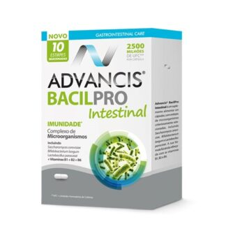 Advancis Bacilpro Intestinal 10 Cápsulas, contribui para o normal funcionamento do sistema imunitário.