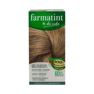 Farmatint Gel Color 6D Louro Escuro Dourado 135ml, graça à sua suave composição, sem amoníaco e com ingredientes vegetais, é uma coloração permanente capaz de cobrir 100% dos cabelos brancos, respeitando a saúde do cabelo.