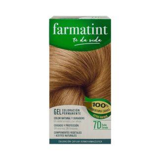 Farmatint Gel Color 7D Louro Dourado 135ml, graça à sua suave composição, sem amoníaco e com ingredientes vegetais, é uma coloração permanente capaz de cobrir 100% dos cabelos brancos, respeitando a saúde do cabelo.