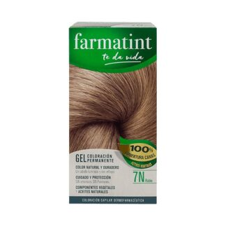 Farmatint Gel Color 7N Louro 135ml, graça à sua suave composição, sem amoníaco e com ingredientes vegetais, é uma coloração permanente capaz de cobrir 100% dos cabelos brancos, respeitando a saúde do cabelo.