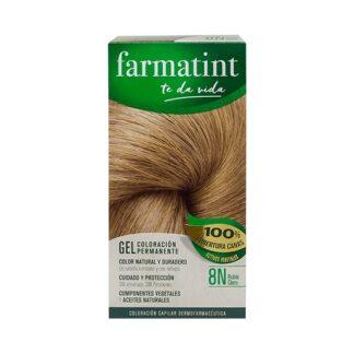 Farmatint Gel Color 8N Louro Claro 135ml, graça à sua suave composição, sem amoníaco e com ingredientes vegetais, é uma coloração permanente capaz de cobrir 100% dos cabelos brancos, respeitando a saúde do cabelo.