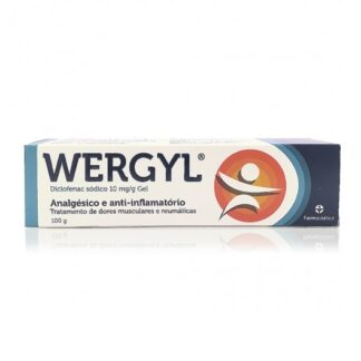 Wergyl Gel 10 mg/g Bisnaga 100g, medicamento indicado no alívio das dores musculares ligeiras a moderadas e dores pós-traumáticas.