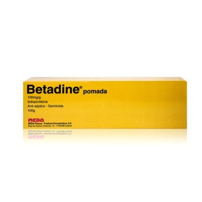 Betadine Pomada 100 mg/g 100g, medicamento indicado na desinfeção de úlceras e outras feridas.