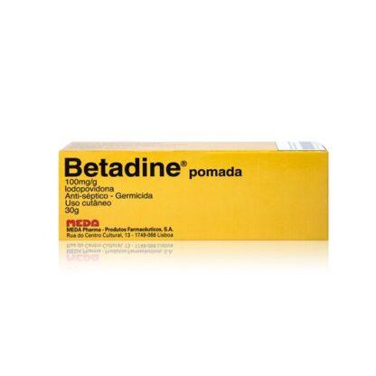 Betadine Pomada 100 mg/g 30g, medicamento indicado na desinfeção de úlceras e outras feridas.