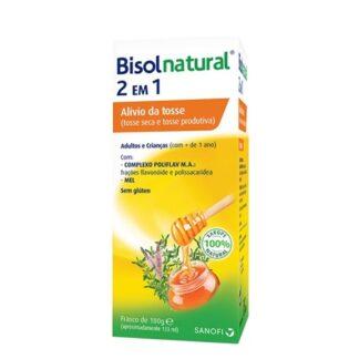 Bisolnatural 2 em 1 é formulado com ingredientes 100% naturais e contém uma mistura de extratos de plantas, que combatem sintomas da tosse seca e da tosse produtiva.