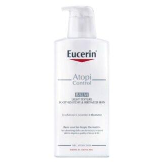 Eucerin AtopiControl Bálsamo Ligeiro 400ml, um bálsamo corporal de uso diário com Licochalcone A, Ceramidas e manteiga de Karité para pele atópica. Acalma o prurido e fortalece a barreira da pele