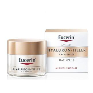 Eucerin Hyaluron-Filler + Elasticity Dia FPS30 50ml, creme de dia anti-envelhecimento para pele madura com FPS 30 e proteção UVA. Fortalece a estrutura da pele: melhora a elasticidade e reduz as rugas profundas.