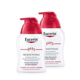 Eucerin Ph5 Higiene Íntima 2x250 ml, gel de limpeza suave. Foi desenvolvido especialmente para a zona íntima, coma finalidade de proporcionar conforto, protecção e ajuda a acalmar irritações.