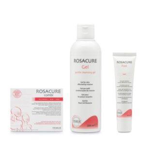 Rosacure Combi + Gel Clean + Gel Emulsão Fast, linha de produtos que ajudao a controlar e atenuar os sintomas típicos da rosácea