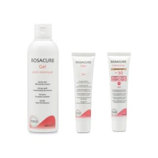 Rosacure Gel Clean + Gel Emulsão Fast + Intesive Clair, linha de produtos que ajudam a controlar e atenuar os sintomas típicos da rosácea